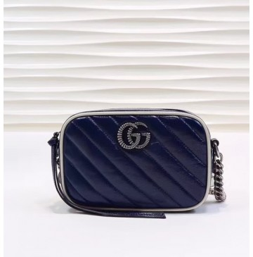 Gucci GG Marmont Matelasse Mini Bag GU448065-blue-white