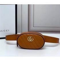 Gucci GG Marmont Matelasse Leather Belt Bag GU476434-brown-black