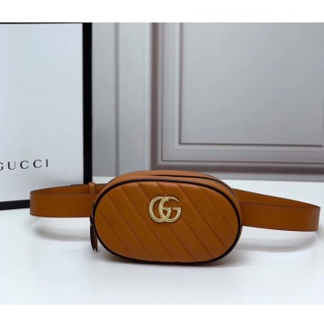 Gucci GG Marmont Matelasse Leather Belt Bag GU476434-brown-black