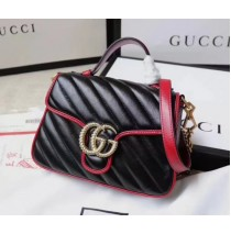 Gucci GG Marmont Mini Top Handle Bag GU547260-black-red