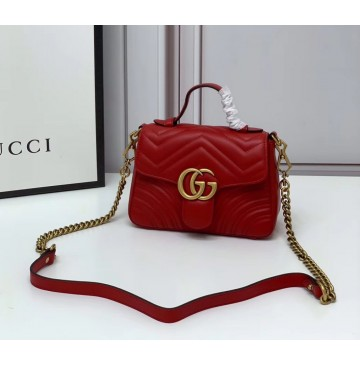 Gucci GG Marmont Mini Top Handle Bag GU547260-red