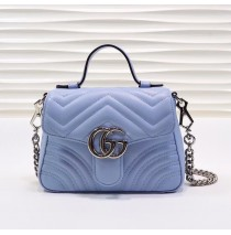 Gucci GG Marmont Mini Top Handle Bag GU547260B-light-blue