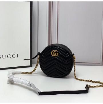 Gucci GG Marmont Mini Round Shoulder Bag GU550154-black