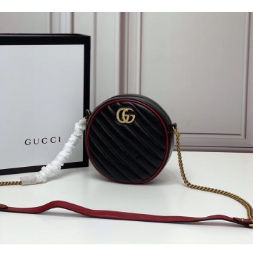 Gucci GG Marmont Mini Round Shoulder Bag GU550154-black-red