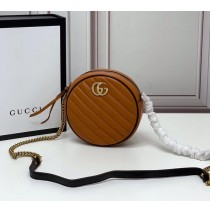 Gucci GG Marmont Mini Round Shoulder Bag GU550154-brown-black
