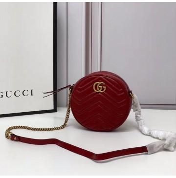 Gucci GG Marmont Mini Round Shoulder Bag GU550154-red