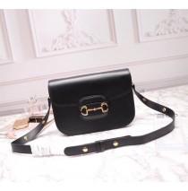 Gucci Leather Horsebit 1955 shoulder bag GU602204L-black