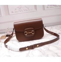 Gucci Leather Horsebit 1955 shoulder bag GU602204L-brown