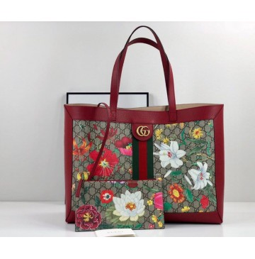 Gucci Ophidia GG Flora medium tote GU547947-red