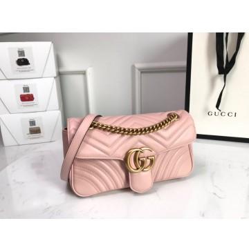 Gucci Small GG Marmont Matelasse Shoulder Bag Pink