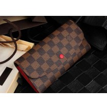 Louis Vuitton Damier Ebene Emilie Wallet Red N63544