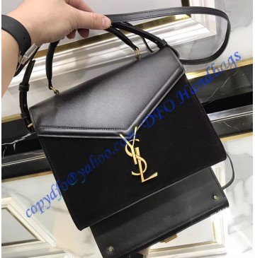 Saint Laurent CASSANDRA Medium top handle bag in smooth leather and suede YSL532752AC-black