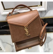 Saint Laurent CASSANDRA Medium top handle bag in smooth leather and suede YSL532752AC-brown