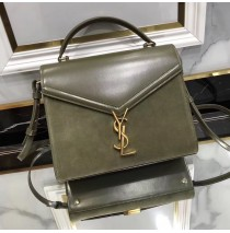 Saint Laurent CASSANDRA Medium top handle bag in smooth leather and suede YSL532752AC-green