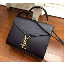 Saint Laurent CASSANDRA top handle Medium bag in grain de poudre embossed leather YSL532752B-black