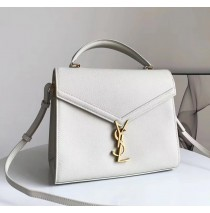 Saint Laurent CASSANDRA top handle Medium bag in grain de poudre embossed leather YSL532752B-cream