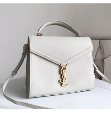 Saint Laurent CASSANDRA top handle Medium bag in grain de poudre embossed leather YSL532752B-cream