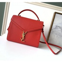 Saint Laurent CASSANDRA top handle Medium bag in grain de poudre embossed leather YSL532752B-red