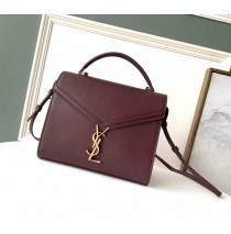 Saint Laurent CASSANDRA top handle Medium bag in grain de poudre embossed leather YSL532752B-wine