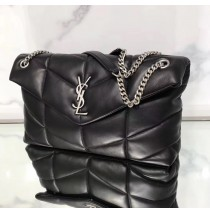 Saint Laurent LOULOU PUFFER Medium bag in quilted lambskin YSL577475B-black