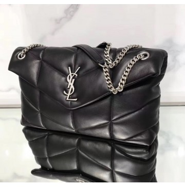 Saint Laurent LOULOU PUFFER Medium bag in quilted lambskin YSL577475B-black