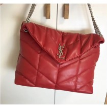 Saint Laurent LOULOU PUFFER Medium bag in quilted lambskin YSL577475B-red