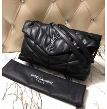 Saint Laurent LOULOU PUFFER Medium bag in quilted lambskin YSL577475C-black