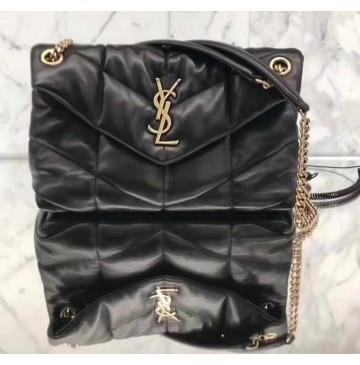 Saint Laurent LOULOU PUFFER Small bag in quilted lambskin YSL577476A-black