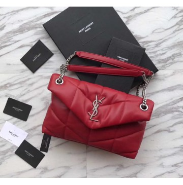 Saint Laurent LOULOU PUFFER Small bag in quilted lambskin YSL577476B-red