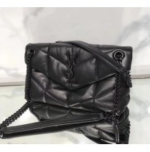 Saint Laurent LOULOU PUFFER Small bag in quilted lambskin YSL577476C-black