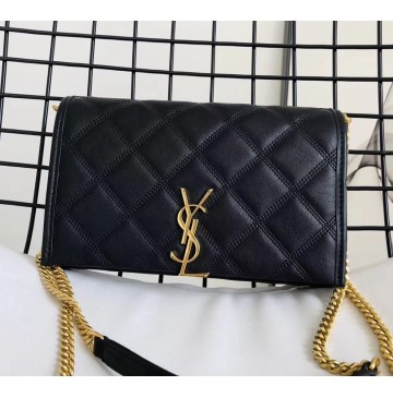 Saint Laurent BECKY chain wallet in quilted lambskin YSL585031-black