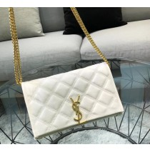 Saint Laurent BECKY chain wallet in quilted lambskin YSL585031-cream