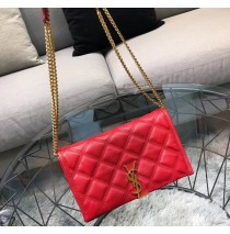 Saint Laurent BECKY chain wallet in quilted lambskin YSL585031-red