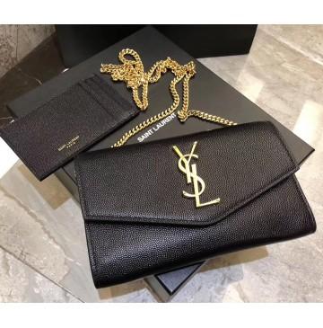 Saint Laurent UPTOWN chain wallet in grain de poudre embossed leather YSL607788-black