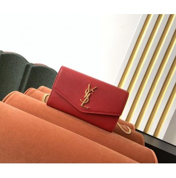Saint Laurent UPTOWN chain wallet in grain de poudre embossed leather YSL607788-red