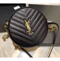 Saint Laurent VINYLE round camera bag in chevron-quilted grain de poudre embossed leather YSL610436-black
