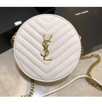 Saint Laurent VINYLE round camera bag in chevron-quilted grain de poudre embossed leather YSL610436-white