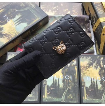 Gucci Signature Card Case with Cat Black