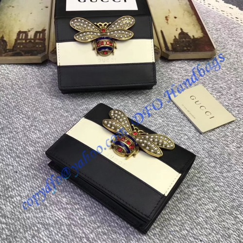 c183fbd254c Gucci Queen Margaret Black White Leather Card Case. Loading zoom