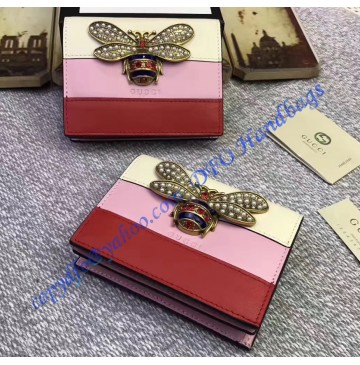 Gucci Queen Margaret White Pink Red Leather Card Case