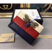 Gucci Queen Margaret White Red Blue Leather Card Case