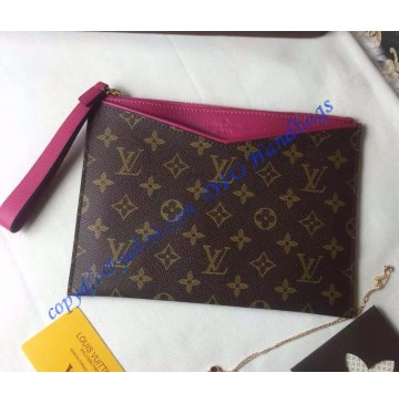 Louis Vuitton Monogram Canvas Pochette Pallas in Rose Red