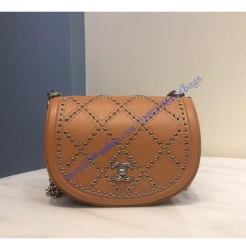 Chanel Small Coco Eyelets Round Flap Camel