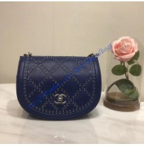 Chanel Small Coco Eyelets Round Flap Dark Blue