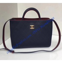 Chanel Bi-color dark blue/burgundy Medium Quilted Shopping Bag in Golden hardware