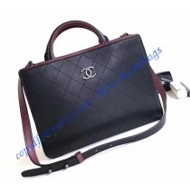 Chanel Bi-color black/burgundy Medium Quilted Shopping Bag in Silver hardware