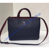 Chanel Bi-color dark blue/burgundy Medium Quilted Shopping Bag in Silver hardware