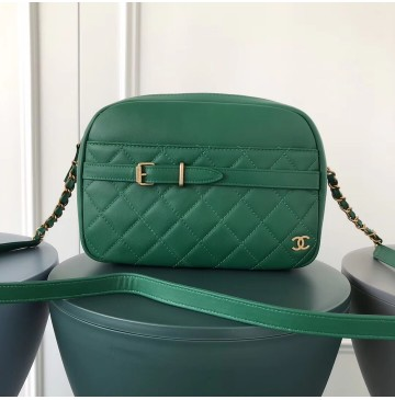 Chanel Large Buckle Camera Case Green
