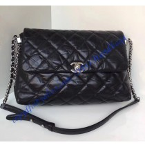 Chanel Black Quilted Space Suit Flap Bag