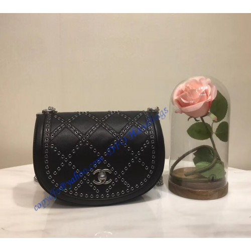 d51e58768bff Chanel Small Coco Eyelets Round Flap Black. Loading zoom